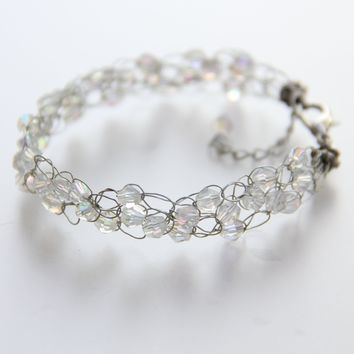Crystal clear chunky crochet wiring bead beaded bracelet Bridesmaid gifts Free US Shipping handmade Anni designs