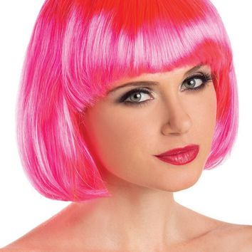 BW090HP Short Bob Wig Hot Pink - Be Wicked