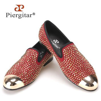 Piergitar Handmade red suede men shoes with gold Rhinestone loafers