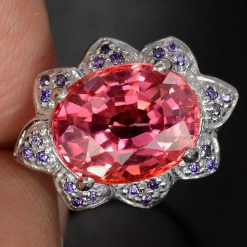 A Natural 6.9CT Oval Cut Padparadscha Sapphire & Purple Amethyst Floral Ring