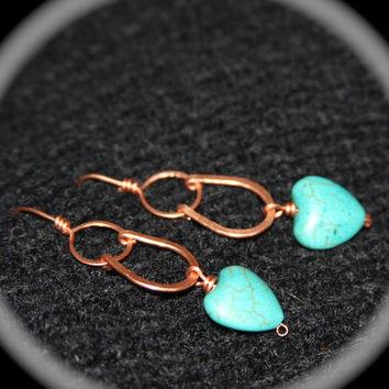 Turquoise Hearts and Copper Beaded Earrings - Handmade Copper Earring - Sterling Silver or 14k Gold Filled Ear Wire are available
