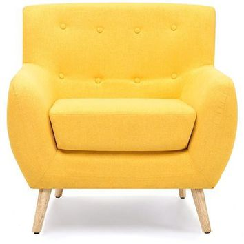 Modern Yellow Linen Upholstered Armchair with Mid-Century Style Wooden Legs
