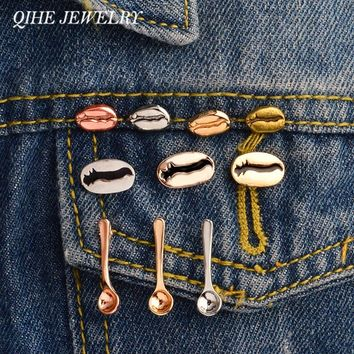 QIHE JEWELRY Coffee bean spoon Coffee pins Women men unisex jewelry Badges Lapel pins Brooches Coffee Addict Gifts