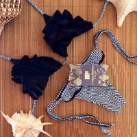 Fashion Sexy Crochet Striped Bandeau Halterneck Strap Bathing Bikini Set Swimsuit S/M/L = 1956924356