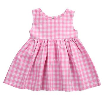 Summer Princss Newborn Baby Girls Casual Sweet Dress Sleeveless Pink Checked Dresses New Fashion 0-24M