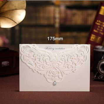 1pcs Sample White Laser Cut Luxury Wedding Invitations Card Elegant Diamond Free Envelopes Seals Wedding Event & Party Supplies