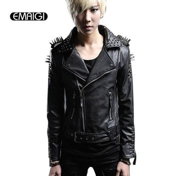 Men Leather Jacket Rivets Punk Rock Stage Costume Street Fashion Slim Fit Overcoat Locomotive Jackets leather Coats