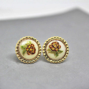Boho Ear Studs / Boho Earring Studs / Flower Studs / Red Flower Earrings / Dainty Earrings / Gold Filled Studs / 14k Gold Filled /