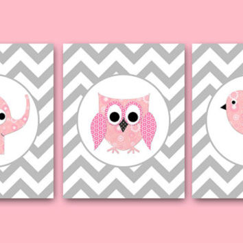 Owl Decor Owl Wall Art Baby Girl Nursery Decor Children Art Print Baby Nursery Art Elephant Nursery Print set of 3 8x10 Bird Rose Gray Pink