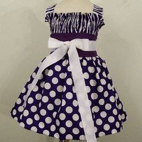 Girls Shirred Top Dress- Purple -Made in the Usa---#207-