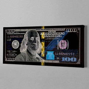 100 Dollar bill print abstract benjamin franjlin Money Canvas print Cash Art Print Rich Money Millionaire Canvas