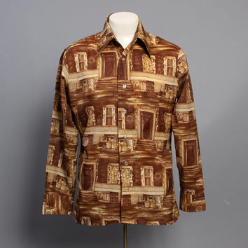70s CITY Streets DISCO SHIRT / Men's Novelty Brownstones Shirt, M