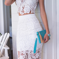 White Lace Two Piece Dress