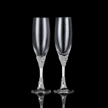 1 Pair Elegant Bride and Groom Glass Wedding Toasting Flutes