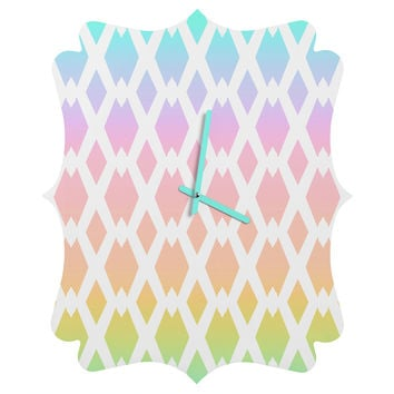 Lisa Argyropoulos Daffy Lattice Pastel Rainbow Quatrefoil Clock