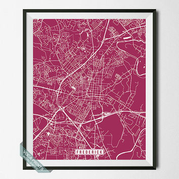 Frederick Print, Maryland Poster, Frederick Poster, Frederick Map, Maryland Print, Maryland Map, Street Map, Wall Art