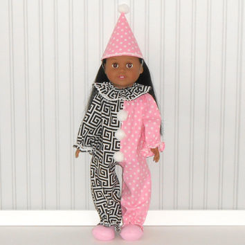 Pink and Black Clown Halloween Costume for 18 inch dolls with Clown Hat and Slippers American Doll Clothes