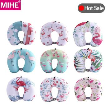MIHE Soft U Shape Shaped Travel Neck Pillow Memory Foam Flamingos Neck Support Rest Pillow Pillows For Airplane Flight JZ03