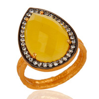 18k Gold Vermeil 925 Sterling Silver Yellow Moonstone Prong Set Designer Ring