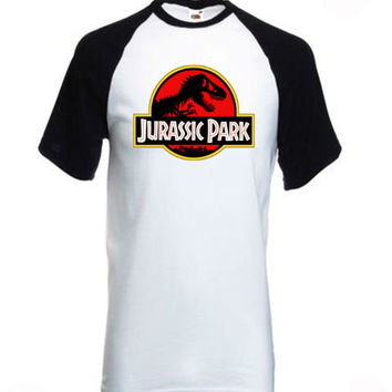 Jurassic Park Black and White Short Sleeve Baseball Tee