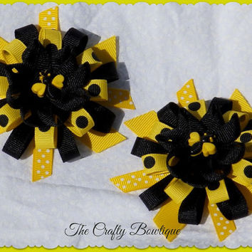 "3.5"" Round Layered Clippie PIgtail Hair Bow Set ~ Black & Yellow Bumble Bee ~ Matching Hair Bows"