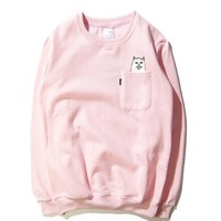 RIPNDIP The middle finger cats Round collar Pullover Hedging Sweater long sleeve sports shirt