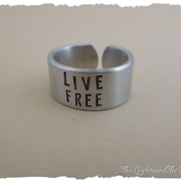 New Hampshire State Motto - Personalized Hand Stamped Jewelry - Live Free or Die - Stamped Metal Adjustable Ring