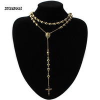 Female Eternally Rose Goldtone Stainless Steel Rosary Bead Necklace for Woman Cross Pendant Choker Christ Decoration Jewelry