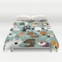 Dog pattern Duvet Cover by Maria Jose Da Luz