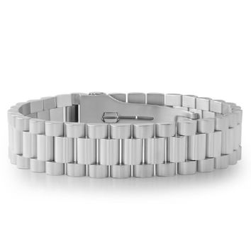 Stainless Steel Presidential Bracelet w/ Watch Buckle