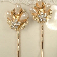 Vintage Pearl & Rhinestone Gold Bridal Hair Pins, Pair Gold Wedding Hair Clips Hairpins, Clear Crystal Bobby Pins Set of 2 Bridesmaids Gifts
