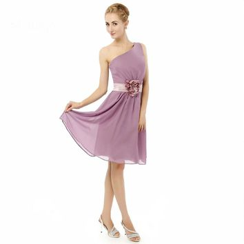 A line One shoulder Chiffon Short Knee length prom dresses Real Custom made fitted dresses