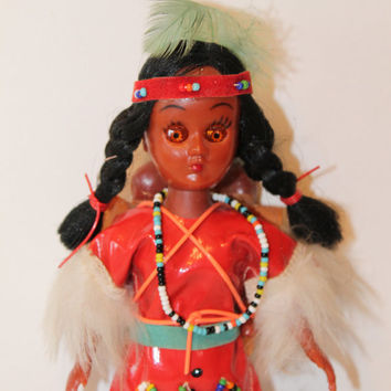 Vintage Native American Doll With two babies on her back Indian doll Vinatge doll toy