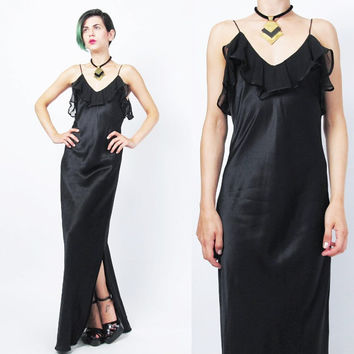 90s Black Silk Slip Dress Minimalist Black Maxi Dress Bias Cut Silk Lingerie Evening Gown Sheer Chiffon Ruffles Sexy Lingerie Dress (S)
