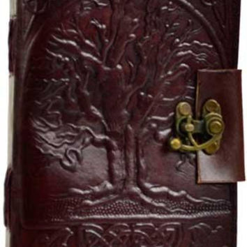 Tree Of Life Leather Blank Book W- Latch