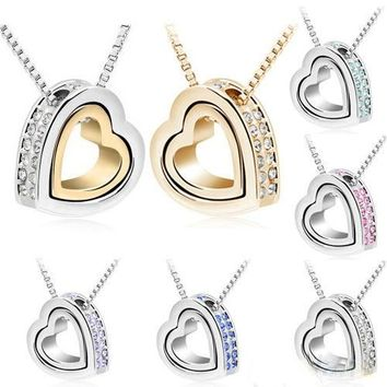 Womens Love Heart Imitation Crystal Charm Statement Pendant Chic Clavicle Chain Necklace Choker Silver Plated Jewelry
