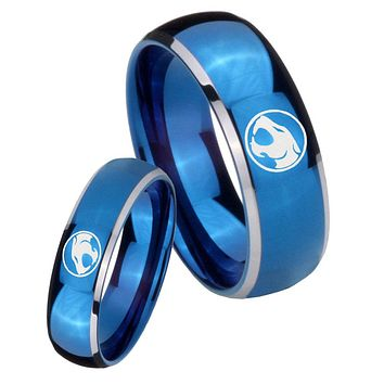 His Her Glossy Blue Dome Thundercats Two Tone Tungsten Wedding Rings Set