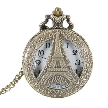 Nurse Pocket Watch Antique Vintage Hollow Eiffel Tower Style Pocket Watch Pendant Necklace Chain Fob Clock For Men Father  LL@17