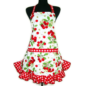 Retro Cherry Apron , Red Cherries on White , Adjustable with Pocket and Red Checkered Ruffle