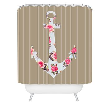 Allyson Johnson Floral Anchor Shower Curtain