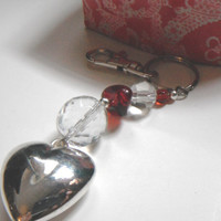 Silver Heart Keychain, Valentine's Day Gift,Red Crystal Bead Keychain, Beaded Handbag Charm, Repurposed Jewelry, Key Ring,Beaded Zipper Pull