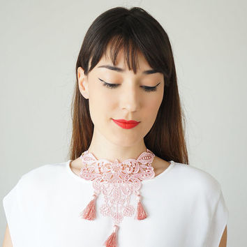 Pink Necklace Tassel Lace Necklace Lace Jewelry Bib Necklace Statement Necklace Body Jewelry Lace Fashion Fashion Accessory / ARMA
