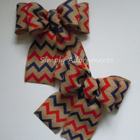 Navy Red Chevron Burlap Bow Fourth 4th of July Burlap Bow Patriotic Burlap Bow Wreath Bow Patriotic Decoration Bow