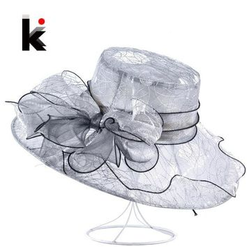 LMFONIS Womens Organza Bow-Knot Bucket Hat Wedding Party Cap For Ladies Kentucky Derby Hats Female Summer Wide Birm Sun Chapeau Feminino