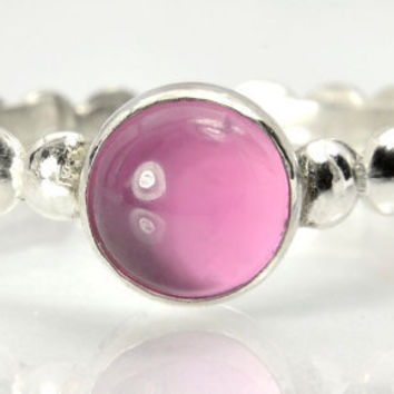 Pink Sapphire Stacking Ring, Sterling Silver Bead Ring with Pink Sapphire Gem