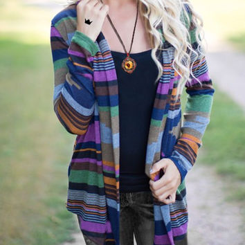 Multicolor Collarless Long Sleeve Striped Cardigan