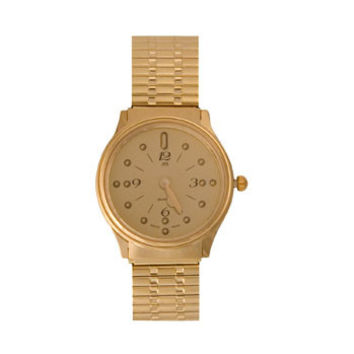 LS&S 77009GP Ladies' Montiel Braille Watch Gold face, gold color, expansion band