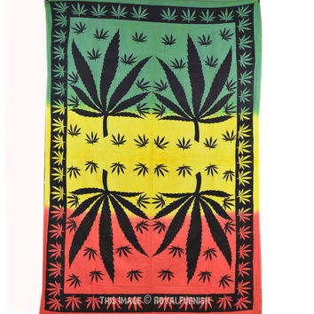 Twin Weed Tapestry, Marijuana Leaf Tapestry Wall Hanging Bedding on RoyalFurnish.com