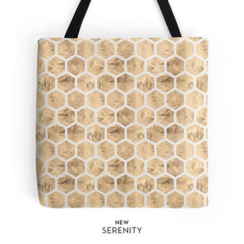 HoneyComb Tote Bag,Geometric Tote,Hexagon Tote,Chic Tote,Printed Tote Bag, Work Tote Bag, Womens Tote Bag, Gift for Her, NewSerenityStudio