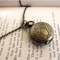 Small Engraved Pocket Watch Necklace by sodalex on Etsy